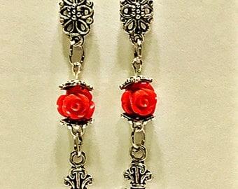Cross Dangle Earrings, Cross Earrings, Rose/Cross Earrings, Dangle earrings, Cross Earrings