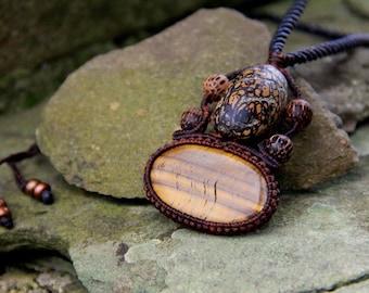 Unisex tribal tiger eye macrame necklace