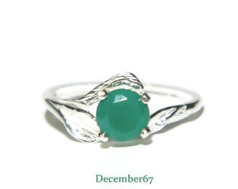 Leaf Ring, Ring With Emerald Green Stone, Natural Green Onyx Ring, 1 Carat Promise Ring, Sterling Silver May Birthstone