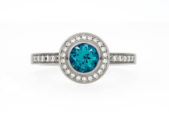 Swiss Blue Topaz halo engagement ring, diamond ring, bezel engagement ring, white gold, yellow gold, blue wedding, unique, vintage