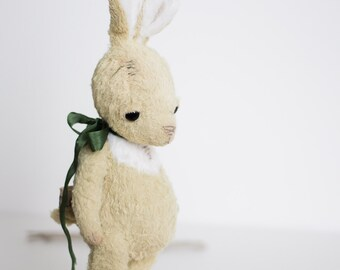 NEW Mohair Easter Rabbit Stuffed Animal Handmade Yellow Bunny Plush Toy Soft Sculpture Silk Green Ribbon Gift For Her 7 Inches FREE Shipping