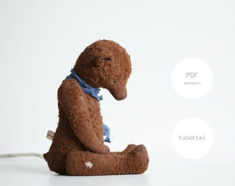 Pdf Sewing Pattern & Tutorial Mohair Teddy Bear 12 Inches Artist Teddy Bear Pattern For Women Stuffed Animal Pattern Plush Pattern Soft Toys