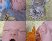 Free ship! OPEN MOUTH reborn boy, Holds ANY newborn size pacifier, Faux formula bottle, ready to ship!