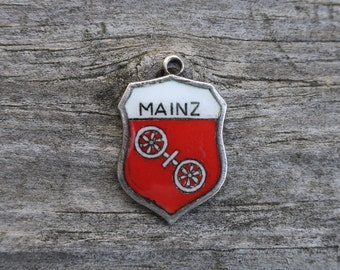 Vintage Mainz Germany Enamel Travel Shield Charm