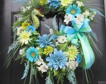 Seahorse Wreath, Tropical Wreath, Beach Wreath, Summer Door Wreath, Spring Summer Wreath, Summer Wreath Front Door, Spring Wreath Front Door