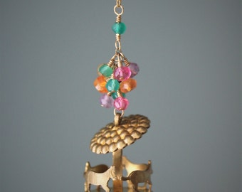 "Pippa Necklace: darling carousel pendant with cluster of gemstone rondelles on 20"" chain"