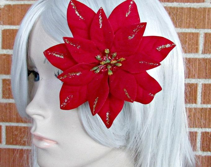Christmas Hair Clip, Holiday Hair Clip, Poinsettia Clip, Holiday Hair Piece, Christmas Fascinator, Festive Wear, Holiday Party, SantaCon