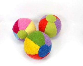 organic wool felt ball -- organic baby toy -- plant dyed wool felt ball -- baby organics -- sensory  toy