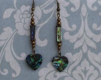 Vintage style Paua shell heart shaped earrings, abalone, colorful, gift, handmade, unique