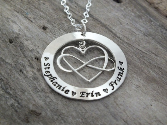Sterling Silver Heart Infinity Necklace Eternity Necklace Hand Stamped Infinity Personalized Forever Necklace