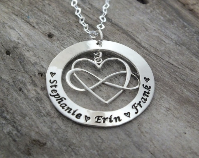 Personalized Necklace  Mothers Necklace   Personalized Jewelry   Kids Names   Heart Necklace   Family Necklace   Mom Infinity Heart Necklace