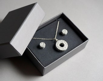 Paper jewellery set - Personalised 1st anniversary gift for wife - Necklace and earrings made from your own text