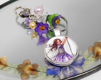 Personalized Purse Charm, Beaded Purse or Backpack Charm, Rear View Mirror Dangle, Hand Bag Charms, Mother's Day Gift, Lavender Flower Fairy