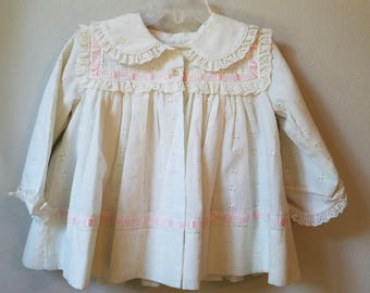 Vintage Girls White Eyelet Dress Coat with Pink Trim by C.I. Castro- Size 12 months- New, never worn
