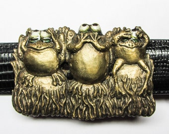 "Whimsical Bronze Frogs Belt Buckle ""Hear No Evil, Speak No Evil, See No...Well, Maybe A  Little"""