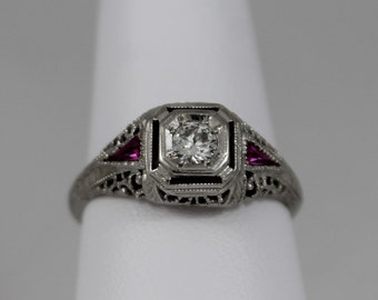 18K White Gold Diamond and Synthetic Ruby Filigree Ring c1921