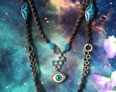 Blue eyes crop circle starseed necklace with LSD molecule and hemp macrame