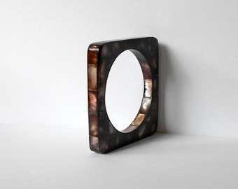 ON SALE Vintage Mother of Pearl Dark Brown Square Bangle Bracelet tiled mosaic MOP