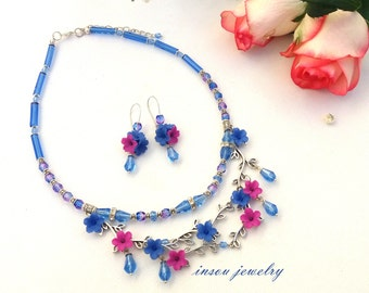 Blue Necklace, Flower Necklace, Romantic Jewelry, Handmade Necklace, Dangle Flower Earrings, Floral Jewelry, Gift For Her, Wedding Jewelry