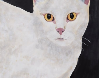 Original White Cat painting by Natalie Jo Wright Cat Portrait Acrylic on paper, large scale painting of cat