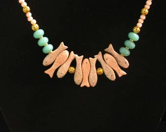 Whimsical Necklace - Pink Glass Seed Beads and Faux Jade beads with Vintage Fish  PzVE0017