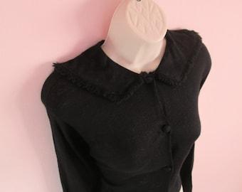 Fantastic Vintage 1950s 50s Black Sweater Cardigan with Batwing/Dolman Sleeves & Nice Collar-Pinup-Bombshell-Vixen-Bad Girl-JD-Rockabilly