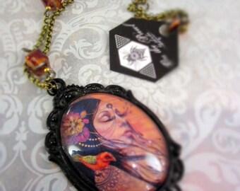 mother nature, bird, fancy black pendant, glass pendant, fancy necklace, vintage pendant, victorian jewelry, ornate jewelery, cabochon