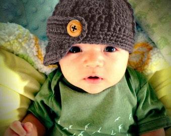 Baby Boy Newsboy Hat, Crochet Baby Boy Hats, Crochet Newborn Hat, Infant Boy Hat, Baby Boy Beanie, Blue, Newsboy Hat Baby Boy, Infant Cap