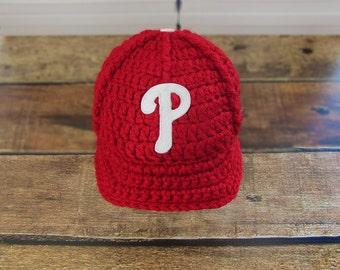 Newborn Boy Hat, Philadelphia Phillies Baby Hat, Sport Baby Hat, Team Baby Hats, Baby boy clothes, Baseball hat, baby hat, crochet hat