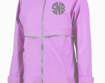CLOSEOUT! Monogram Rain Jacket - Light Pink - Left Chest Monogram - Light Pink Rain Jacket - Rain Jacket - Monogram Rain Jacket - Rain Coat