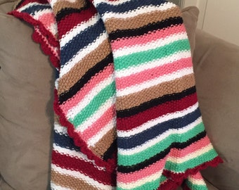 Afghan Lap Quilt / Vintage Crocheted Handmade Striped Afghan Quilt 5' x 2.5'/ Cottage Farmhouse Quilt decor
