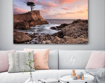 Metal Wall Art, Lone Cypress Tree Photo, Pebble Beach Sunset, California Photography, Big Sur Photo Metal Print Large Art Purple Blue Orange