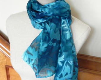 Devore satin silk scarf hand dyed in shades of teal blue, ready to ship