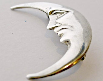 Vintage Finely Detailed Sterling Silver Man In Crescent Moon Brooch