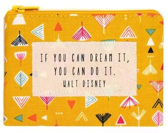 Small Quote Purse Walt Disney Retro Mustard Print