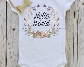 Hello World Bodysuit, Newborn Baby bodysuit, Floral wreath Newborn baby bodysuit, printed bodysuit, Baby shower gift, Bohemian baby bodysuit