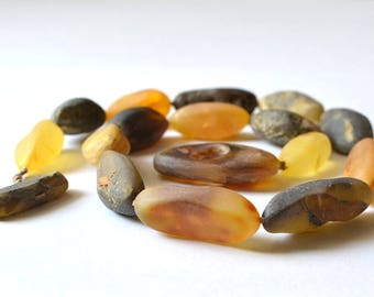 Amber Necklace, Natural Raw Unpolished Necklace, Genuine Amber Statement Necklace, Amber Jewelry