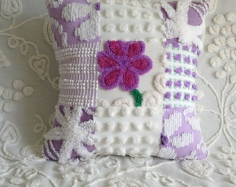 """Pillow Cover Vintage Chenille Purple, White, and Lavender Patchwork...16 x 16"""""""