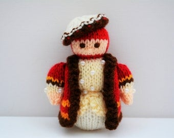 King Henry VIII Doll, Doll Knitting Pattern, Knitted Toy, King Crown, King, Queen, Tudor Doll, Tudor Dress, Queen Elizabeth,British Monarchy