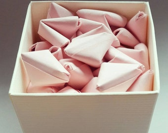 Tiny box of 50 paper origami heart love messages - wedding favour - simple decor