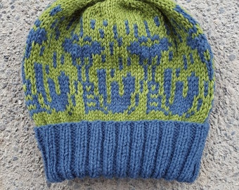 Space Needle Cityscape Beanie -- Handknit -- Ready to Ship