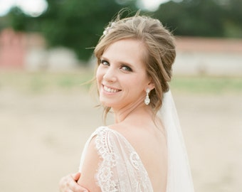 Bridal Drop Earrings, Diamond Earrings, CZ Bridal Earrings, Wedding Earrings,Swarovski Crystal Bridal Earrings - WILLOUGHBY Drop Earrings
