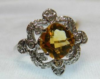 Citrine Ring 18K White Gold Vintage Engagement Ring 18K Unique Engagement Ring Genuine Diamond Ring Alternative Engagement November Birthday