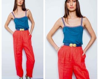 SALE were 150 now 120 chic vintage 80s VALENTINO linen high waisted pants trousers