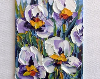 Iris Mini Flower Art Original ACEO Oil Painting Purple Flower Abstract Tiny Painting Palette Knife Textured Impasto Gift for Her