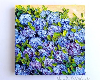 Blue Hydrangea Original Oil Painting Flower Floral Art Impasto Textured Palette Knife Painting Small Canvas Ready to Hang 8x8