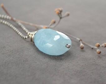 Aquamarine Necklace, Aquamarine Pendant, Blue Aquamarine, Silver Necklace, Wire Wrap Long Oxidized Aquamarine Necklace,  March Birthstone