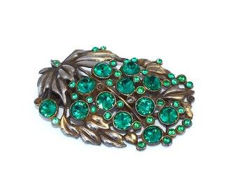 Rhinestone Dress Clip ~ Vintage Floral Leaf Motif w/ Green Rhinestones