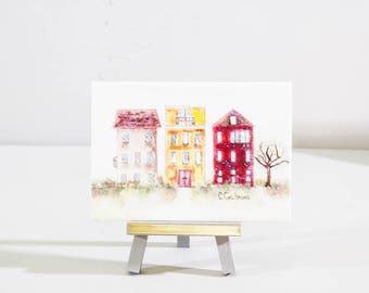 miniature watercolor houses, mini easel art,  gift under 30, bright urban buildings, desk art, home decor gift, neighborhood painting, gift