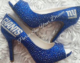Custom Crystal Rhinestone NY GIANTS Themed Custom High Heel Shoes  - NY Giants Football - Custom Shoes - Swarovski Crystals